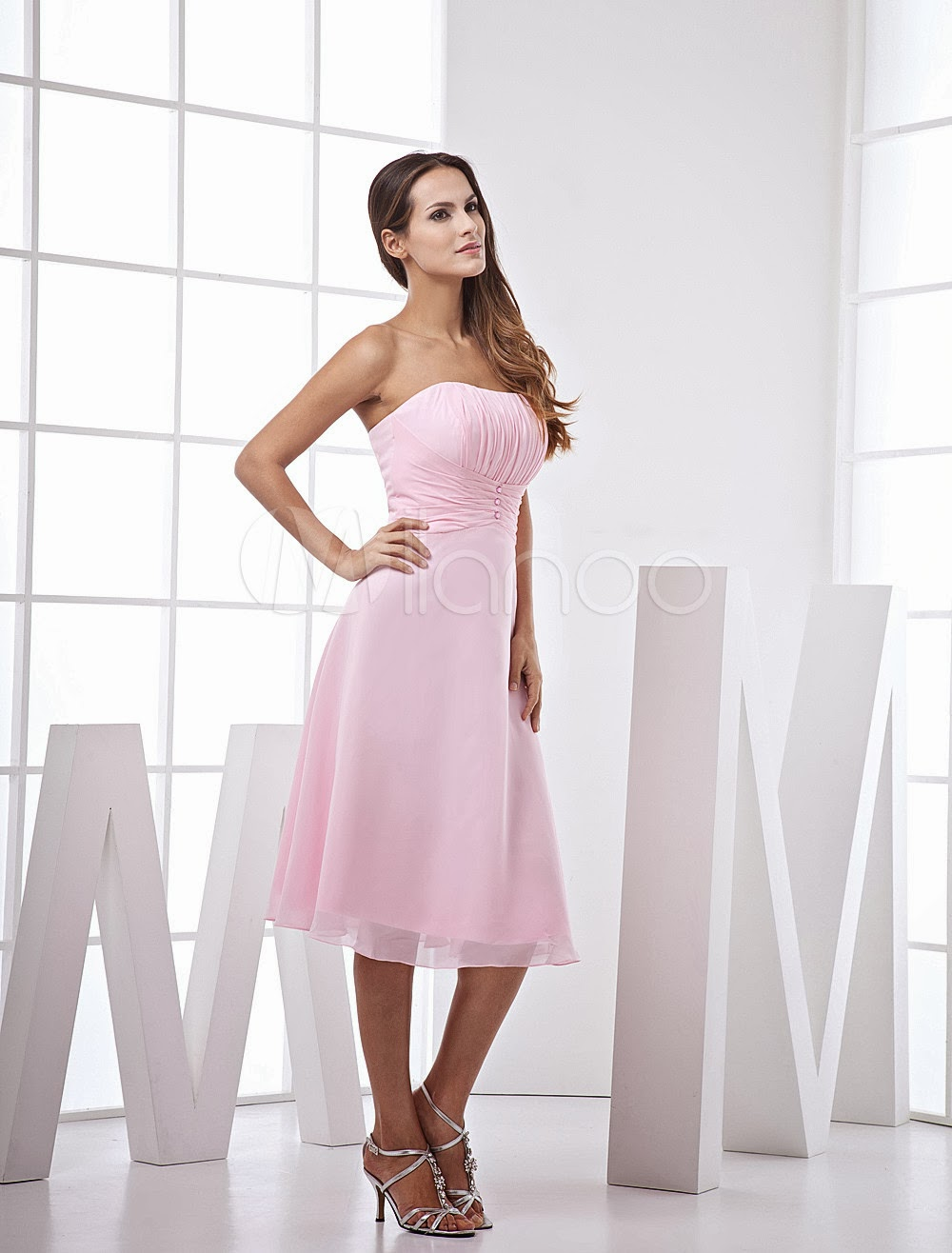 China Wholesale Clothes - Pink Lovely A-line Strapless Chiffon Satin Prom Gown/Homecoming Dress