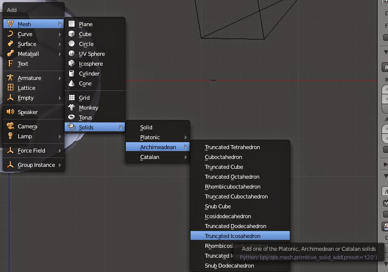 Blender 3D:  Creating add-on mesh archimeadean truncated icosahedrons
