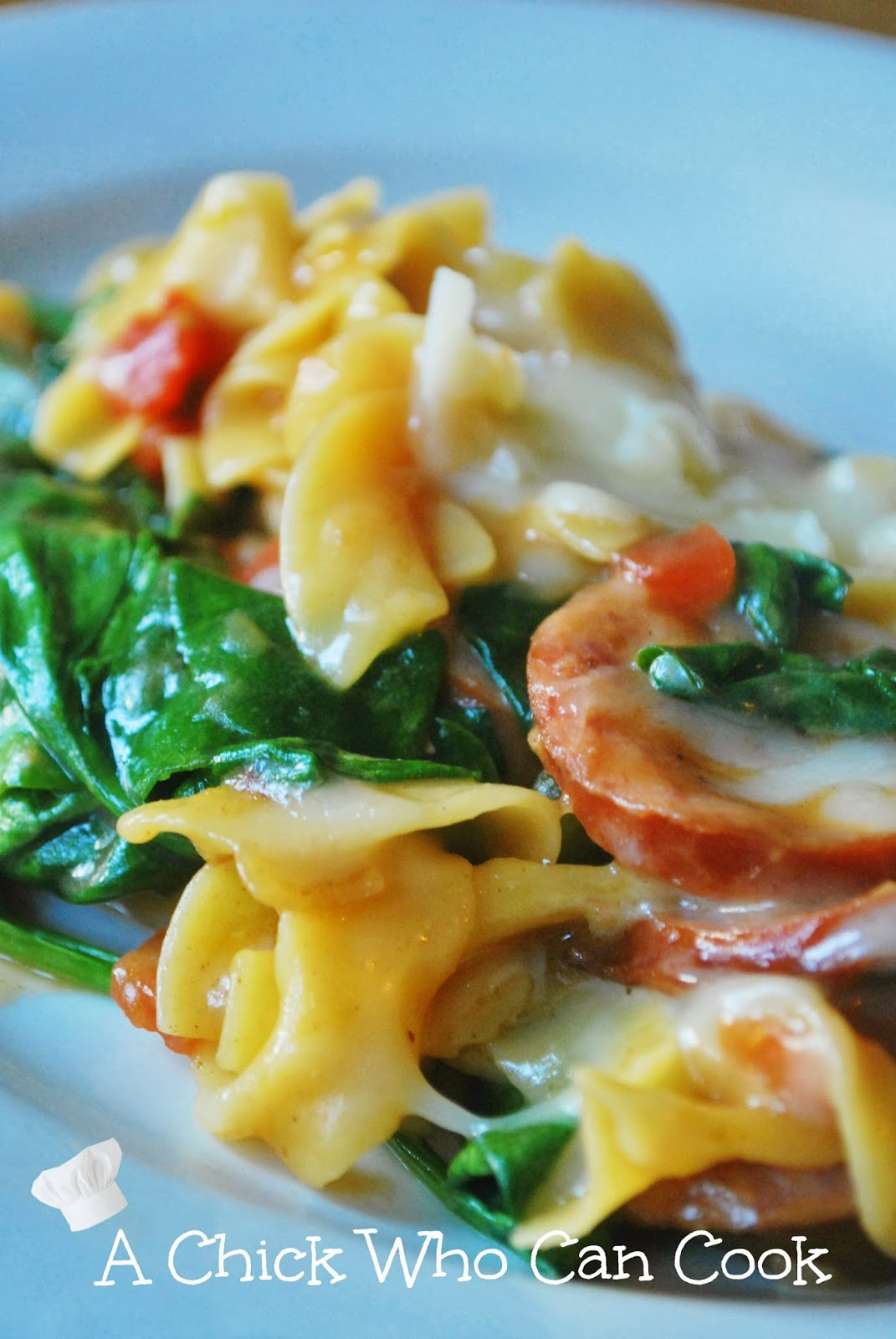 A chick who can cook creamy spinach sausage pasta for Creamy spinach pasta bake