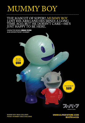 San Diego Comic-Con 2011 Exclusive Glow in the Dark Blue Mummy Boy &amp; Clear Pocket Invisiboy by Super7