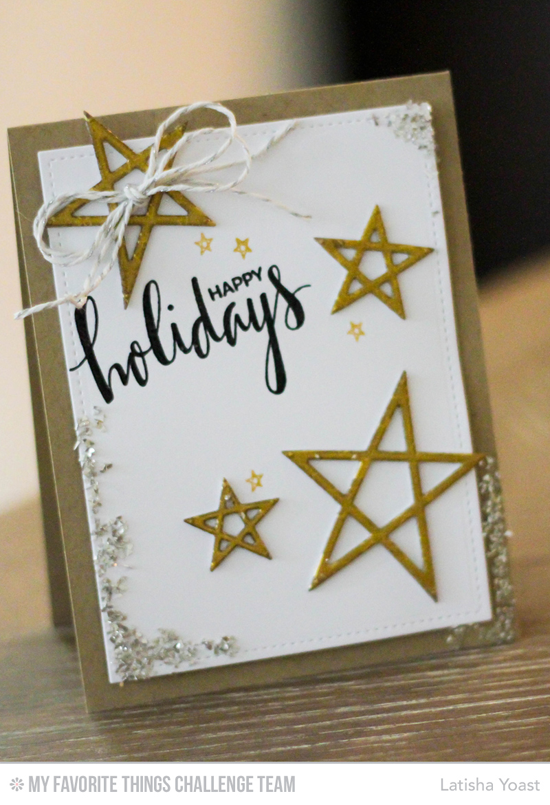 Starry Holiday Card by Latisha Yoast featuring the Hand Lettered Holiday stamp set and the Laina Lamb Design Lucky Stars Die-namics #mftstamps