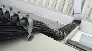 DC Cables on Concrete Column