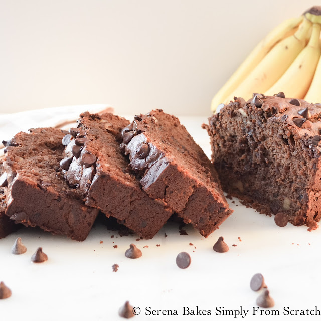 Double Chocolate Banana Bread. Moist and super chocolaty! www.serenabakessimplyfromscratch.com