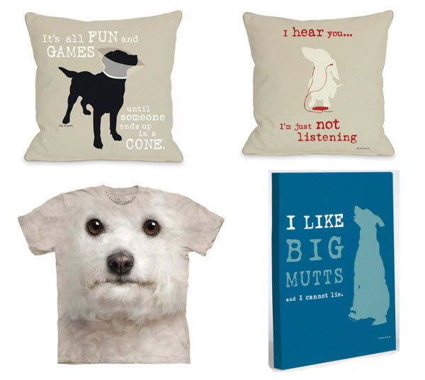 dog t-shirt, dog pillow, dog home items