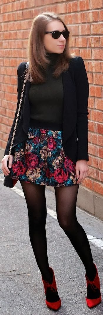Mini floral skirt and black blazer