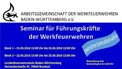 In diesem Jahr ist Ostern bereits Ende März. Wir werden unser Führungskräfteseminar wie gewohnt in der Karwoche an der Landesfeuerwehrschule Baden-Württemberg durchführen. Anmeldungen sind ab sofort möglich. Je Seminarblock stehen 100 Teilnehmerplätze zur Verfügung - Infos und Onlineanmeldung zum Seminar gibt es auf der AGWF Homepage http://www.agwf-bw.de/index.php?id=170