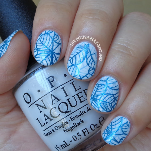 Double Blue Leafy Stamping Nail Art
