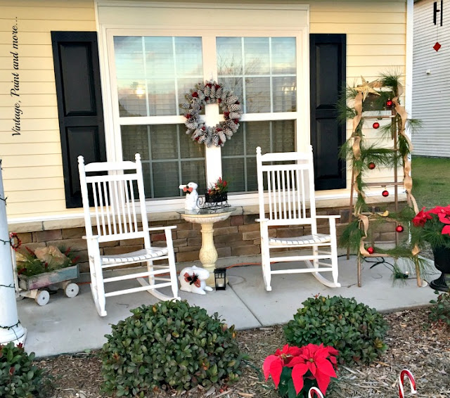 our Christmas porch decorated with recycled, thrifted items