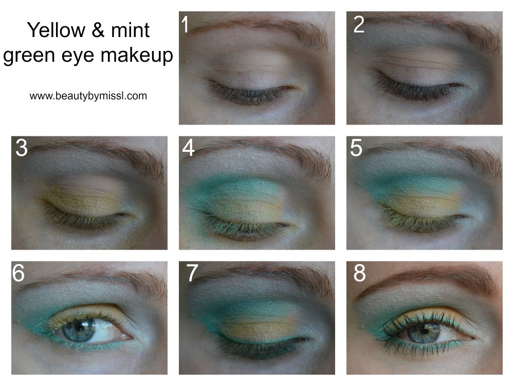 Yellow and mint green eye makeup tutorial
