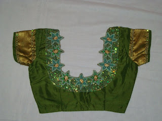green colour beads  work blouse
