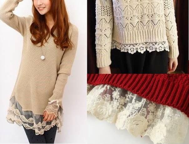 swetry z koronkami