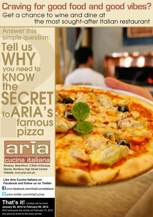 Manila Life: Win a trip to Boracay with Aria Cucina Italiana