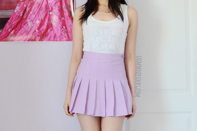 More photos of the Snapmade pastel-print customized tank top, modeled with a pleated purple American Apparel dupe tennis skirt.