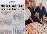 Mia Janssen gevierd als 101-jarige