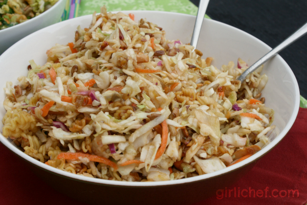 Crunchy Ramen Salad - 3 Ways {#WeekdaySupper: #FamilyDinnerTable} | www.girlichef.com