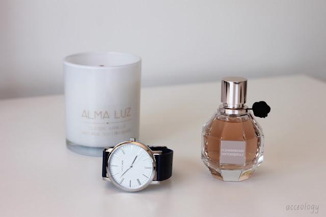 flowerbomb vanilla candle minimal watch