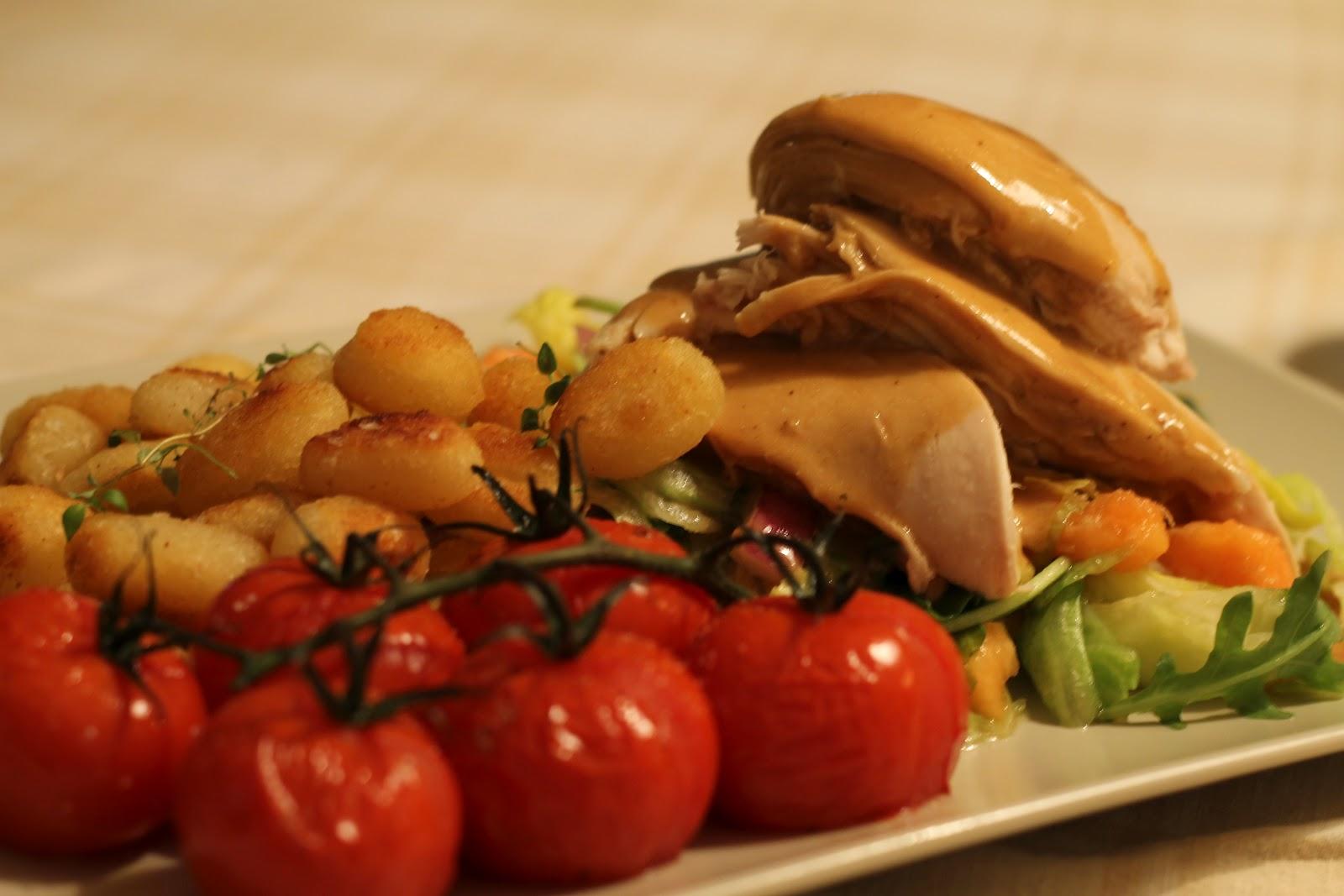 stekt gnocchi med kyckling