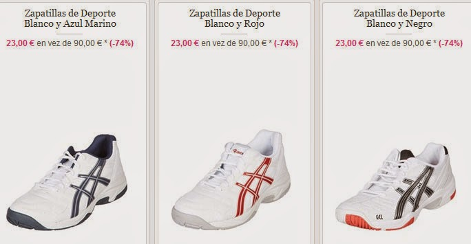Ejemplos de zapatillas de Asics en oferta