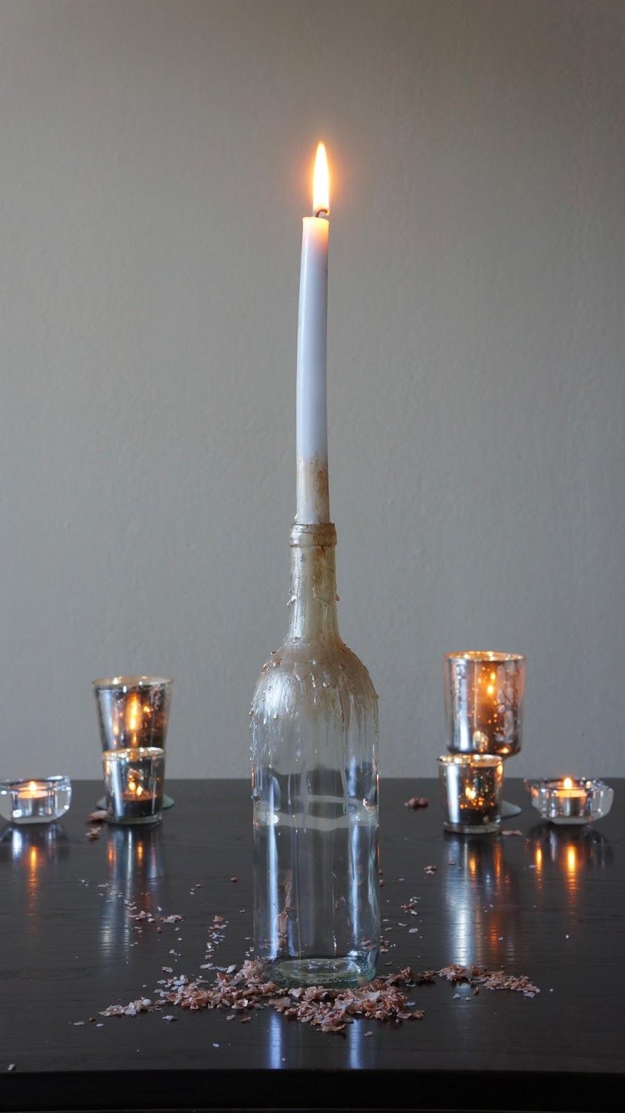 Diy Wine Bottle Candle Holder Harvesting Love Events