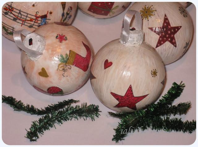 декупаж  елочных  шаров,  новый  год,  рукоделие,  салфетки