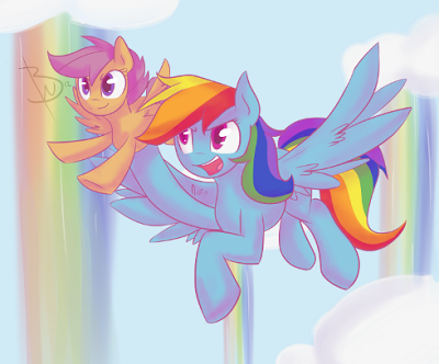 Rainbow Dash moved up on my favorite pony list because of this episode, so enjoy Rainbow Dash and Scoots.