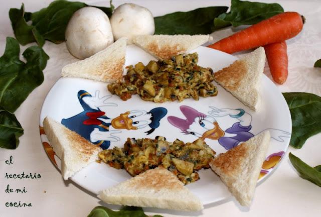 Tortilla de espinacas y zanahorias