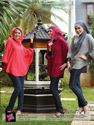 Zenitha Blus rajut longgar Salem tua Magenta Abu ZN44