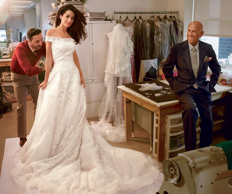 Amal Alamuddin Wedding Dress, Amal Alamuddin Wedding Photos, Amal Alamuddin Oscar de la Renta Dress, Amam Alamuddin George Clooney Wedding, Amal Alamuddin Rare Photo