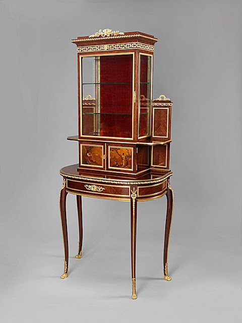 Attributed to François Linke A Fine and Unusual Louis XVI Style Gilt-Bronze Mounted Mahogany Vitrine, With Vernis Martin Panels French, Circa 1890.
