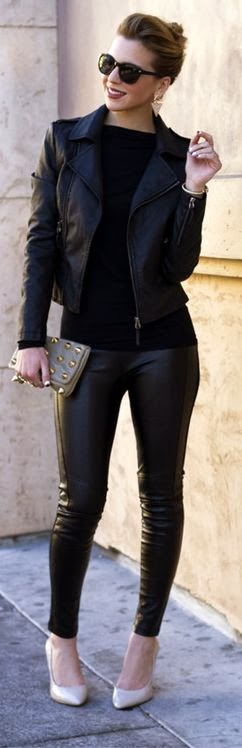 Black leather jacket and pant