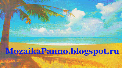 Панно из стеклянной мозаики «Пейзаж с пальмой»