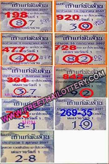 THAI LOTTO LOTTERY SPECIAL TOUCH TIP PAPER 01-10-2014