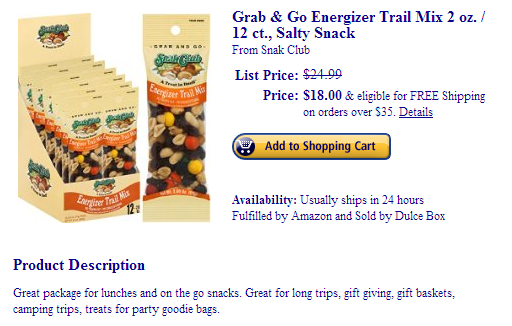 Snak Club Energizer Trail Mix Grab And Go Packages