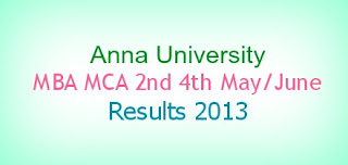 Anna University MBA MCA 2nd 4th May June Results 2013