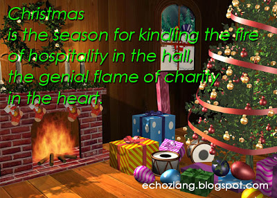 Christmas is the season for kindling the fire of hospitality in the hall, the genial flame of charity in the heart.
