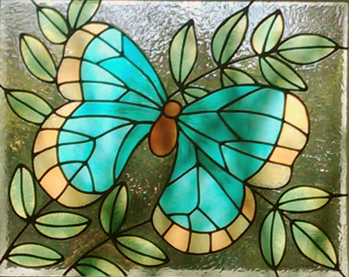 Gallery glass class glowing butterflies with gallery glass for Best glass painting designs