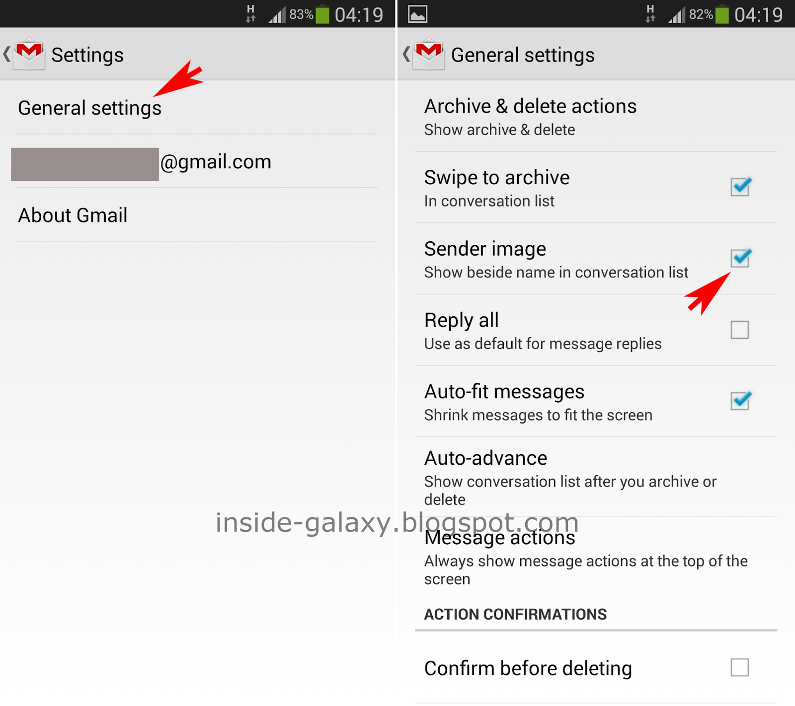 Samsung galaxy s4 how to select multiple gmail messages when the sender image is a box located in the left side of each gmail message if the email sender has been added in your contacts app altavistaventures Gallery