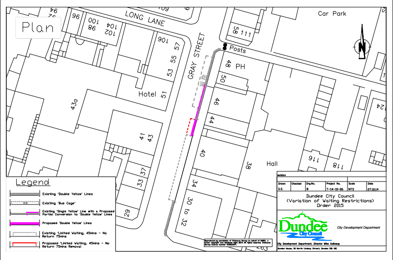 Plan of proposed change to car parking restrictions in Gray Street Broughty Ferry January 2015