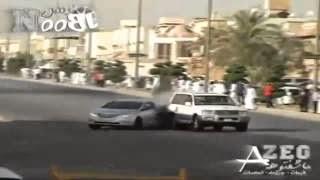 مفحط يتسبب في حادث خطير لسيارة اخرى