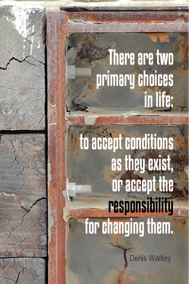 visual quote - image quotation for CHOICE - There are two primary choices in life: to accept conditions as they exists, or accept the responsibility for changing them. - Denis Waitley