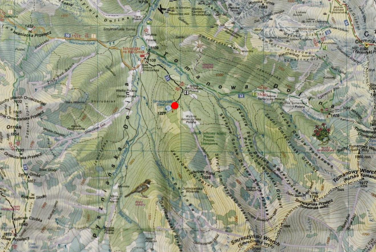 Smreczyński Staw - mapa