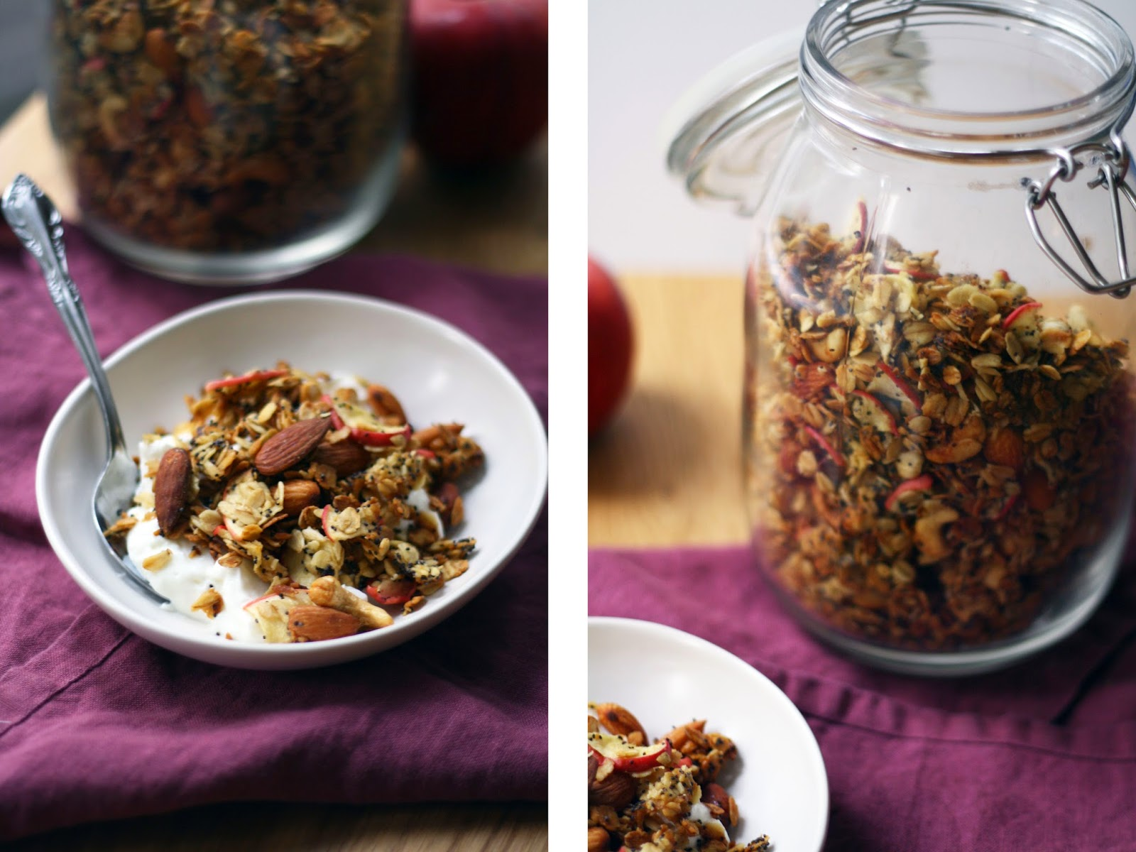 granola with apples + honey // sevengrams