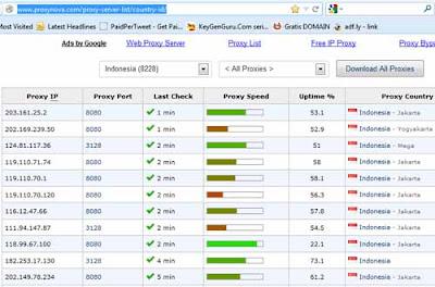 Pilih salah satu IP Proxy yang lumayan bagus, contohnya 118.99.67.100 ...