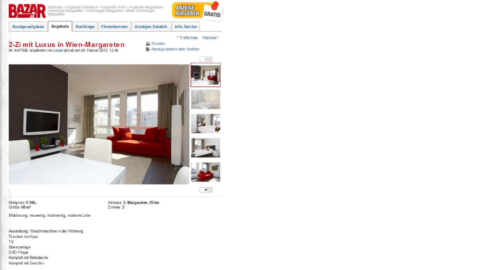 2 zi mit luxus in wien margareten. Black Bedroom Furniture Sets. Home Design Ideas