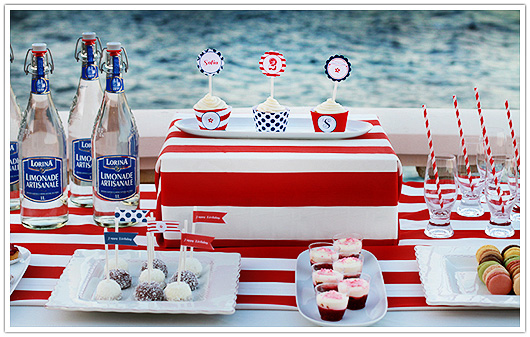 red white blue party dessert table
