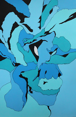 modern art style painting of a blue carnation