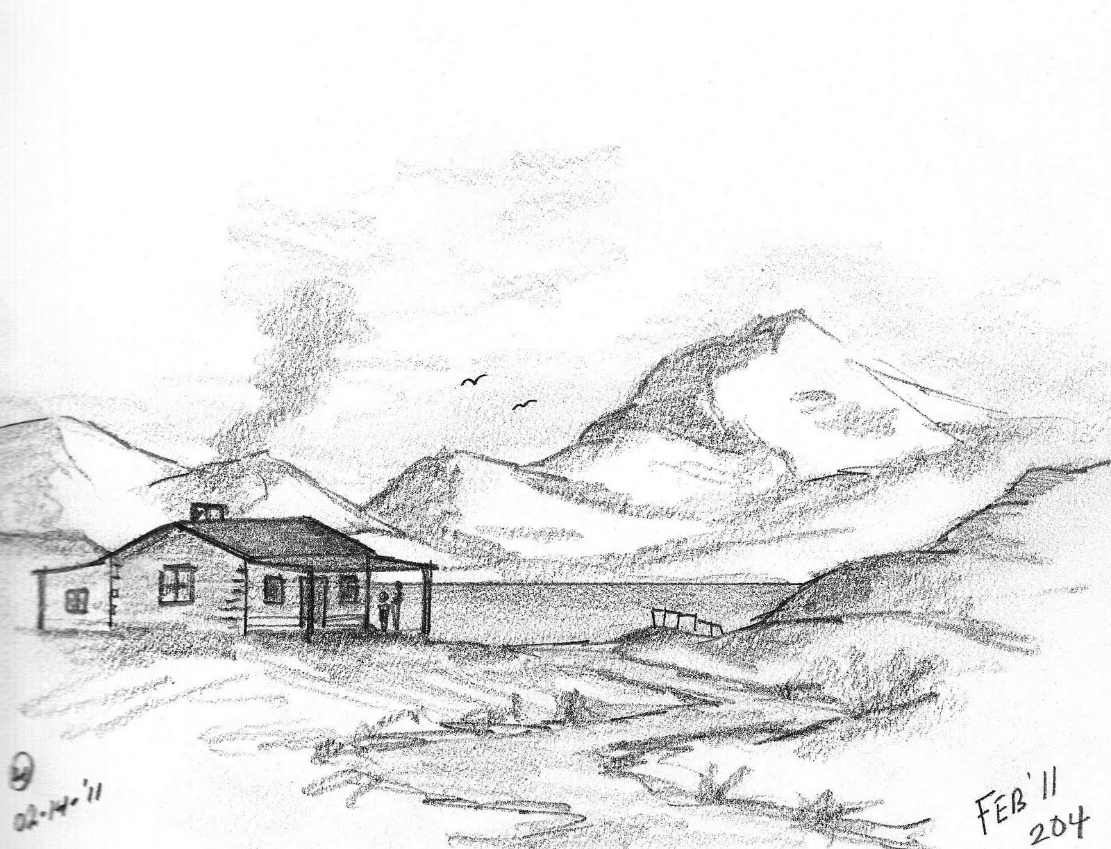 pencil drawings of mountains | Pencil Sketch Drawing