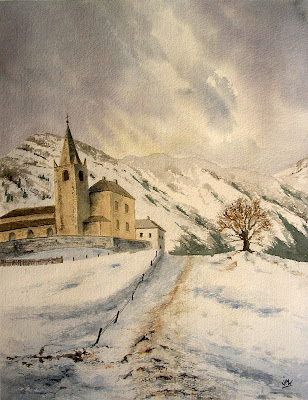 aquarelle-du-village-d'Aussois
