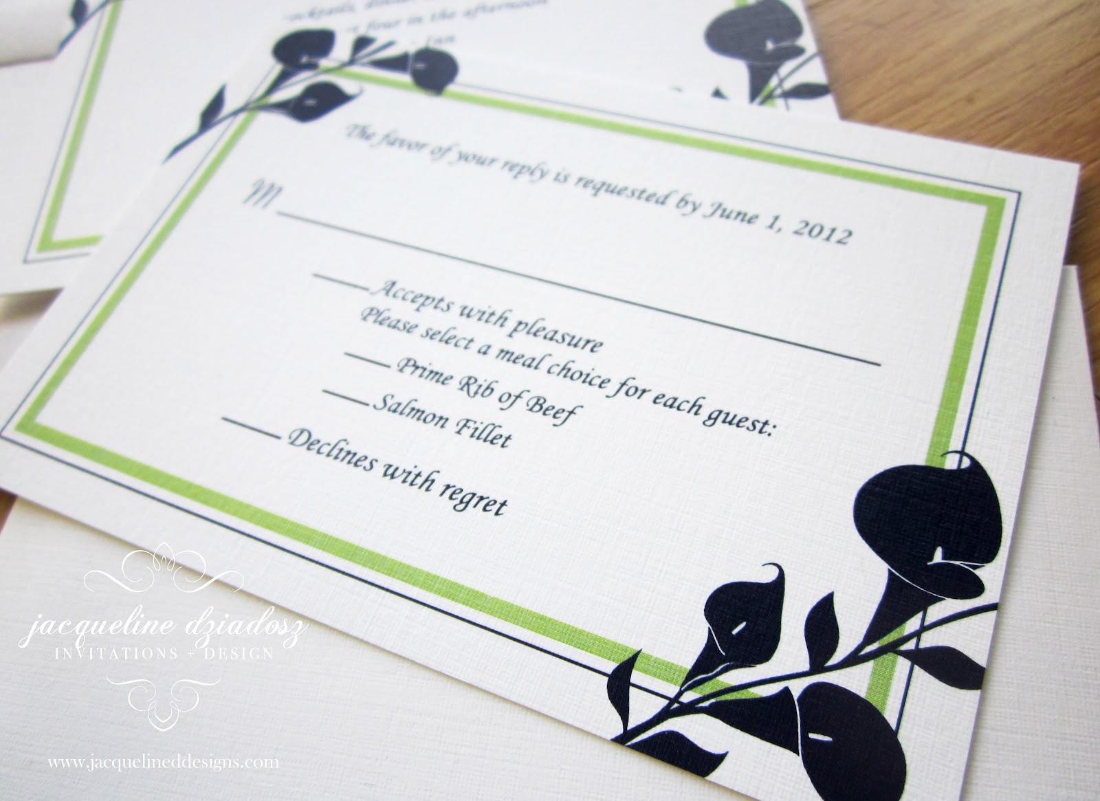 Laurie & Daniel\'s Calla Lily Wedding Invitiations | Jacqueline ...
