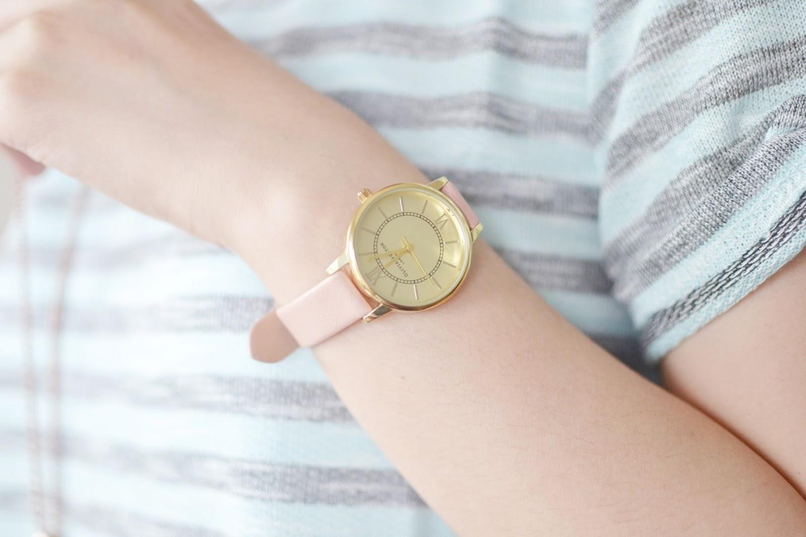 pink strap watch, olivia burton watch